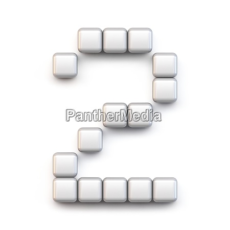 white cube pixel font number two