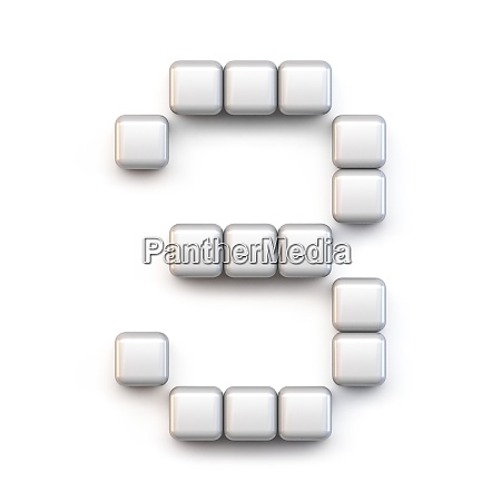 white cube pixel font number three