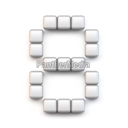 white cube pixel font number eight