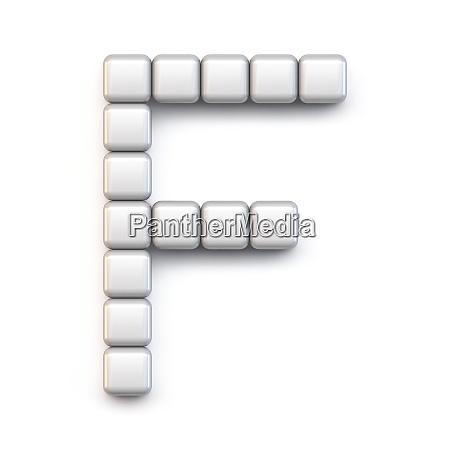 white cube pixel font letter f