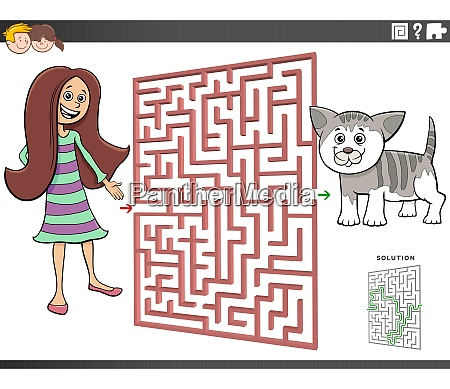maze game with cartoon teen girl