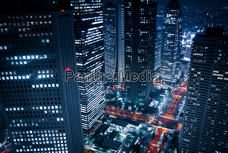 skyscrapers of night view seen from
