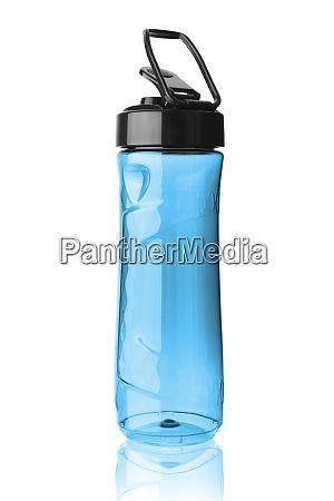 plastic blue sports bottle isolated on