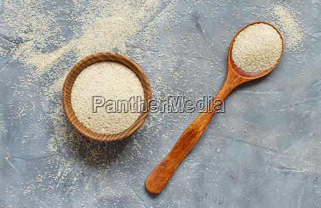 raw, uncooked, fonio, seeds, grey, background - 28491718