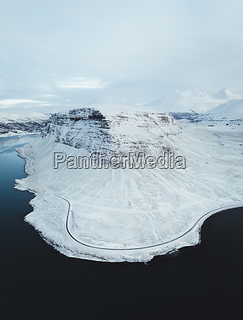 aerial view of a snowy mountain