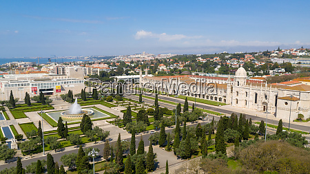 aerial view of jeronimos monastery and