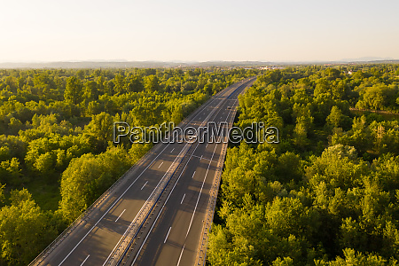 aerial view of empty highway due