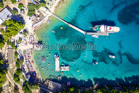 aerial view of boats in tisno
