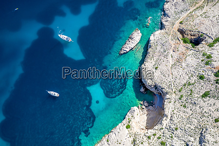 aerial view of turquoise water in
