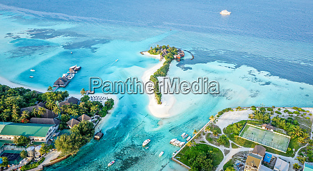 aerial view of local island huraa