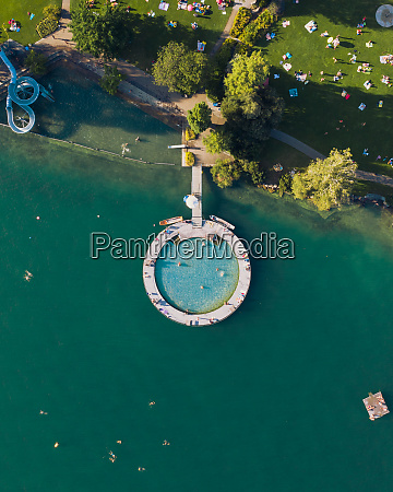aerial view of an outdoor pool
