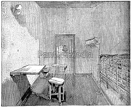 solitary prison cell 1898 illustration of