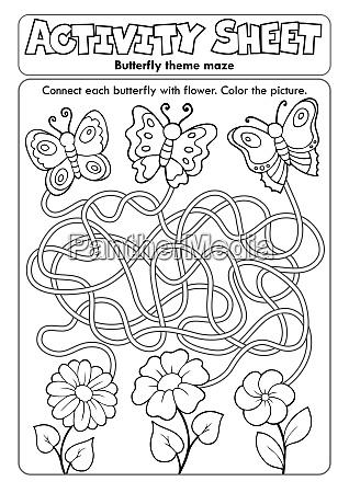 activity sheet butterfly theme maze