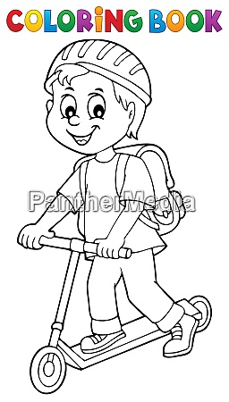 coloring book boy on kick scooter