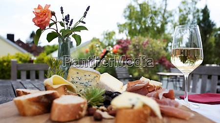 antipasto on garden terrace