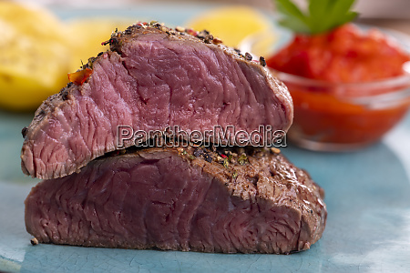 slices of pepper steak on a