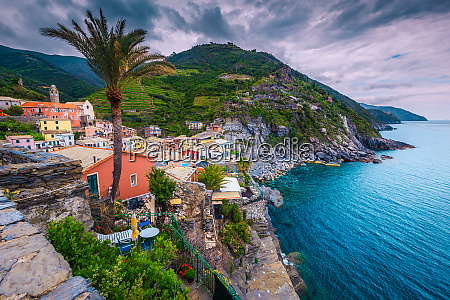 admirable vernazza village view with rocky