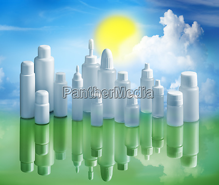 plastic bottles in an recycle and