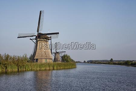 several stone brick dutch windmills at