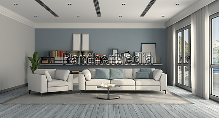 white and blue modern living room