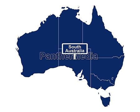 south australia mit australienkarte und strassenschild