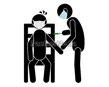 piktogramm besuch beim arzt mit impfung