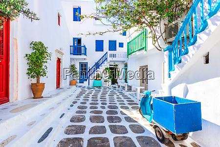 mykonos greece cobblestone alley whitewashed
