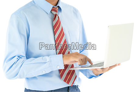 businessman holding a laptop with clipping