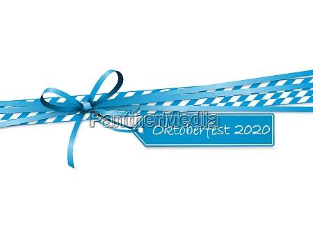 oktoberfest blue ribbon bow with hang