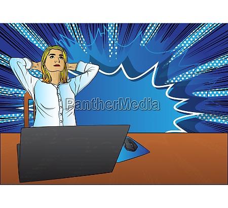 pop art businesswoman relaxing from working