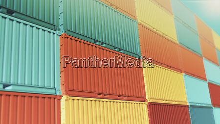 stacks of coloured shipping container