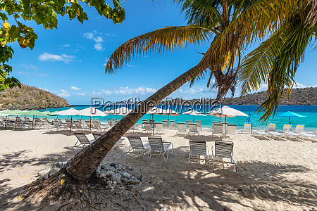 beach beds and umbrellas on a