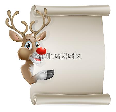 cartoon reindeer scroll sign