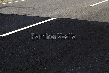 repaired part of the paved road
