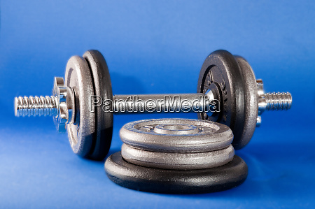 barbell and weights