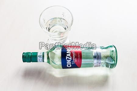lying bottle of cinzano extra dry