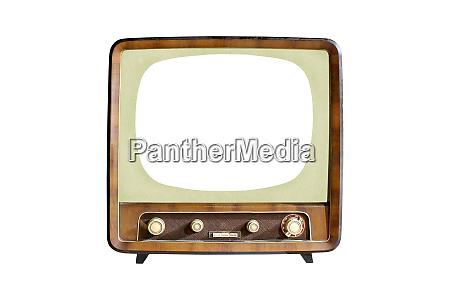 vintage crt tv set with blank