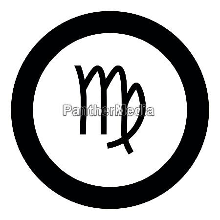 virgin symbol zodiac icon black color
