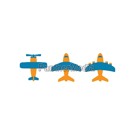 airplane colorful vector cartoon icon set