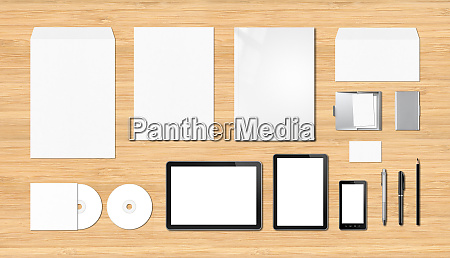corporate branding mockup template wooden background
