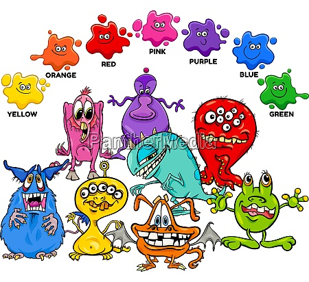 basic colors with monster characters group