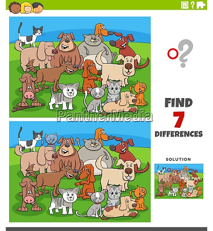 differences educational game with comic cats