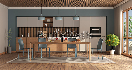 modern kitchen with wooden table and