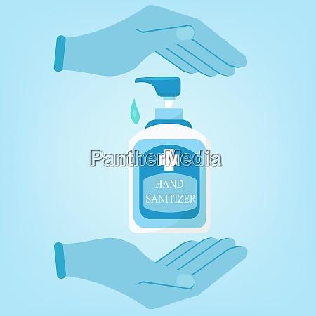 hand sanitizer botlle sanitation concept banner