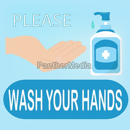 wash your hand or a notice