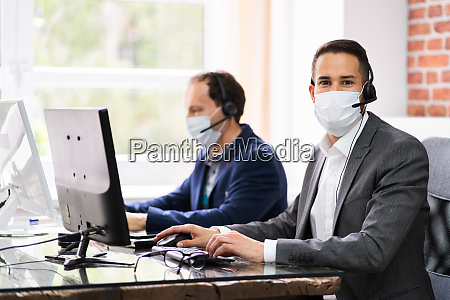 customer service support agents in headsets