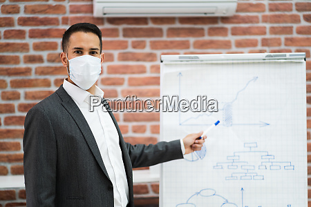 business man giving training presentation in