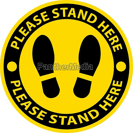 please stand here icon notice