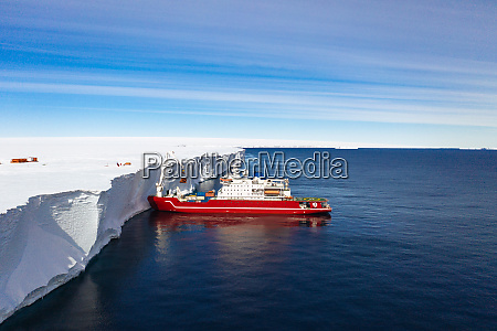 aerial view of ship in antarctica
