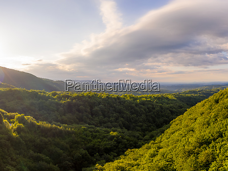 aerial view of scenic sunrise at